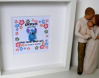 Disney//Handmade to order//Minifigure//Stitch//Lilo And Stitch//Gift//ShadowBox Frame//Personalise//love//Family