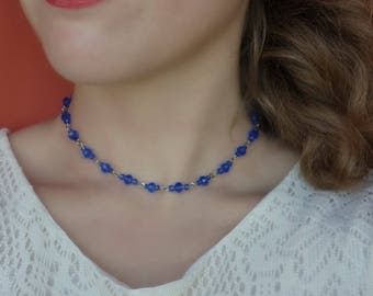 Blue Beaded Choker, Blue Beaded Necklace, Blue Crystal Choker, Crystal Choker Necklace , Swarovski Choker, blue choker, Navy Blue choker