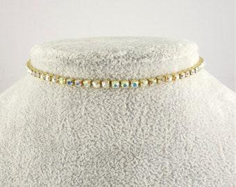 Iridescent Rhinestone Choker, Crystal Choker, Diamante Choker Gold Choker Gold Rhinestone Dainty Delicate Crystal Diamond choker necklace