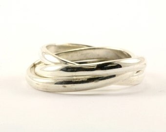 Vintage Three in One Trinity Band Ring 925 Sterling RG 1869