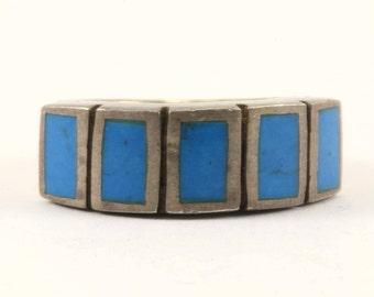 Vintage Rectangular Turquoise Ring 925 Sterling Silver RG 2108