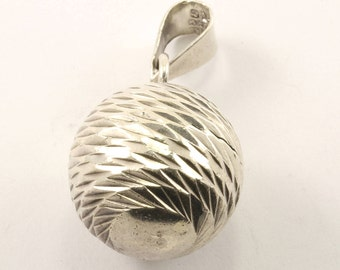 Vintage Mexico Textured Sphere Pendant 925 Sterling Silver PD 2360