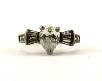Vintage Engagement Crystal Ring 925 Sterling RG 3376