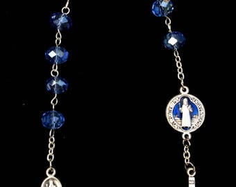 Rosary One Decade Blue Crystal St. Benedict Pocket Rosary Silver Findings