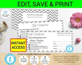 Rf gift certificate etsy rodan and fields gift certificate rf coupon rf certificate negle Choice Image