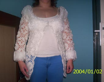Women 3/4 crochet flower white wool fur and knit right size 38/40