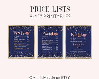 LipSense Price List, LipSense Price Sheet,  LipSense Price Sign, LipSense Pricing, LipSense Price Display, Senegence, NAVY, gold confetti