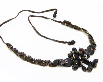 Antique 1920s Victorian Jewelry, Handmade Black Button Necklace, Lace And Beads Necklace, Black Beaded Choker Necklace, Edwardian Jewelry