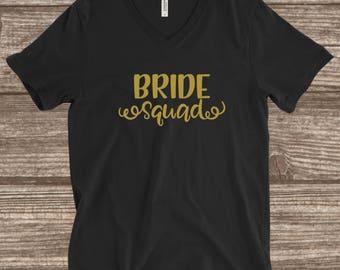 Bride Squad Black and Gold T-shirt - Bridal Party Shirts -Bridesmaids T-shirts - Custom Bridal Party Shirts - Bride Squad