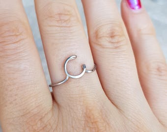 Initial ring, letter C ring, personalized wire initial ring, wire ring, initial c ring, adjustable ring, wire letters, letter ring, C Di&De