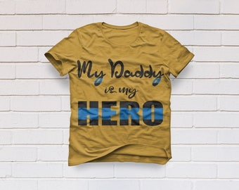 Police svg, Daddy is my hero svg, Thin blue line svg, Police svg, Back the blue svg, Dad svg, Cricut, Cameo, Clipart, Svg, DXF, Png, Eps