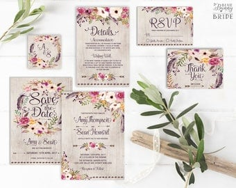 Rustic Floral Wedding Invitation Suite. Bohemian Watercolor Flower Wedding Invite Set. Boho Save the Date. RSVP. Thank You Card. FLO2