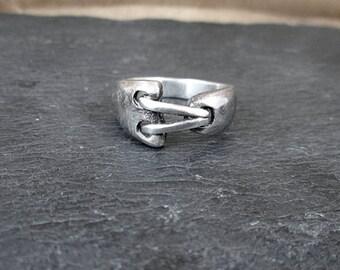 Sterling Silver Strange Corset Ring - Size 8 - Vintage