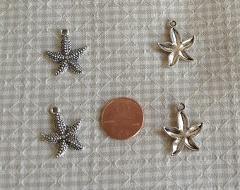 4 Silver Alloy Starfish Charms, Pendants, Jewelry Findings