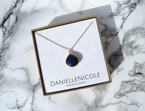 Lapis Teardrop Pendant Necklace, Lapis Lazuli Necklace, Pendant Necklace, Everyday Jewelry, Statement Jewelry, Statement Necklace, Boho Chic