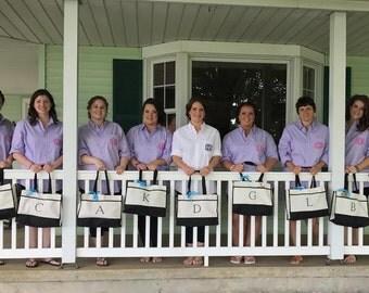 Ten Bridesmaids Totes, Set of 10 Personalized Totes, Bridesmaid Gift, Bridesmaid Gifts, Bridal Party Bags, Wedding