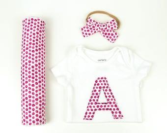 Baby Girl Coming Home Outfit, Baby Girl Gift Set, Bodysuits, Baby Headband, Burp Cloth, Baby Girl Headband, Baby Shower Gift, Newborn Girl