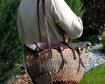 sisal tote bag-sisal embossed leather bag-sisal shoulder bag- vintage jute shopper market bag-sisal beach bag-wicker beach tote bag-boho bag