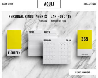 Personal 2018 MO2P Insert Rings | Personal Size Insert | Month on Two Pages | Printable Inserts | Personal Printable | Filofax Personal