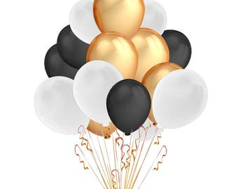 Event balloons   Black White and Gold Balloons   Graduation   50th Birthday   Retirement Party