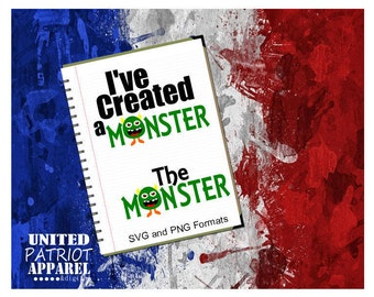 Created a Monster SVG, Mommy and me svg, Monster SVG, svg monster, PNG format