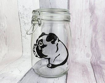 Boxer hand painted glass jar, Dog biscuit jar, Dog gift, Dog treat jar, Clip top jar, Cookie jar, Pet snack container, Kitchen canister