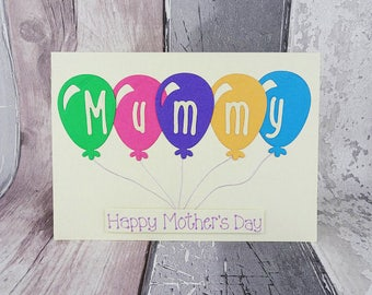 Card for Mummy, Mother's Day balloon card, Handmade card for Mommy, Mothering Sunday card, Happy Mother's Day card, Birthday card for Momma