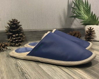 Blue slippers, royal blue slippers, women slippers, leather slippers, wool slippers, warm slippers, closed toe slippers, slippers for women