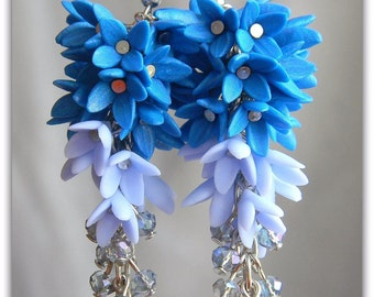 Long earrings of clusters Earrings made of polymer clay hrustal original earrings woman gift Mothers Day St Patricks Day