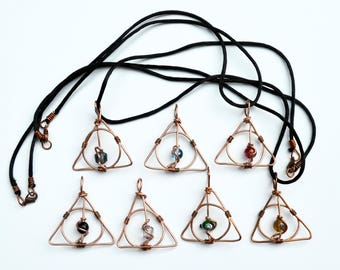 Deathly Hallows Necklace  Harry Potter Inspired Copper Wire Wrap Pendants - Copper Wire with Glass Beads -  Handmade - Each One Unique!