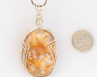 Yellow Oregon Plume Agate with Natural Druzy, Wrapped in Sterling Silver Wire