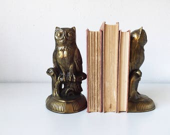 Vintage Set of Cast Metal Owl Bookends Brass Finish + Library Books + Retro Decor + Hollywood Regency + Modern Bohemian + Owls Birds