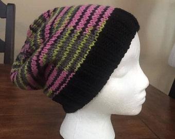 knit Slouchy Beanie - black/pink/green/grey