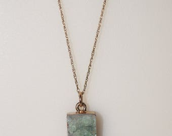 Vertical Mint Druzy Quartz Pendant on a 20 inch Gold Filled Rope Chain