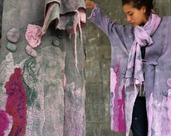 Double-sided gray-purple  coat, Felted coat,  Jacket, Hand made, Clothing,  Wearable art, Nuno felted, Designer,  Eco-fashion
