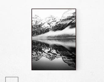 Mountain Print, Black and White Nature Photography, Mountain Wall Art, Scandinavian Print Nature, Black and White Mountain Photography, Home