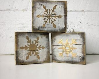 Blocks - Snowflakes - Barn Wood - Vintage - White - Gold