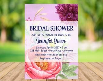 Floral Bridal Shower Invitation Instant Download, Boho Pink Bridal Shower Invitation Floral, Elegant Bridal Shower Invitation, Digital