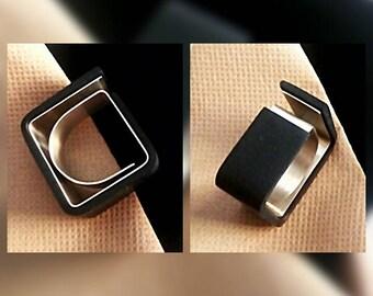 modern square ring.geometric black ring.urban square ring.modern statement ring.architectural ring.contemporary geometric ring.black rings.