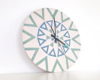 Mandala Wall Clock, Ornamented Clock, Modern Wall Clock, Green Blue White Clock, Colorful Clock