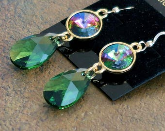 The Earrings are Made with Swarovki Crystal Electra Green