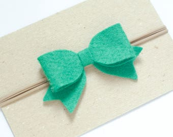 Felt Bow Headband, Green Baby Headband, Baby Girl Bows, Wool Blend Felt Headbands, Christmas Bow