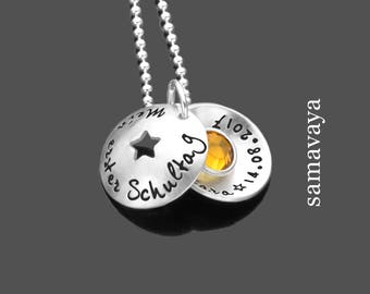 Name chain my 1.SCHULTAG 925 Silver Chain baptism necklace for kids back to school