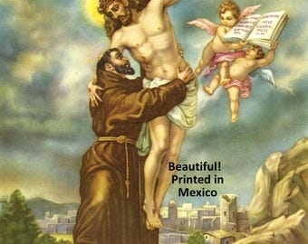 St Francis of Assisi 1960's Lithograph Catholic Art Print Mexico 8x10  Beautiful!