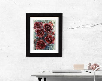 original painting, watercolor, floral, painting, flower artwork, wall art, saltwatercolors, free shipping, roses, flowers, artwork, pink