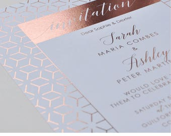 Foil wedding invitation - Linea design, personalised, customisable and pre-printed with your guests names