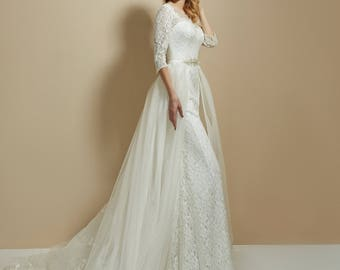 long sleeve lace wedding dress/2018 bohemian wedding dress/simple wedding dress/beach wedding dress/backless wedding/detachable skirt(train)