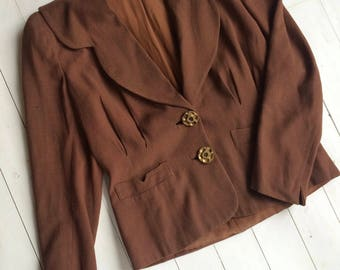 1940's Brown Crepe Jacket