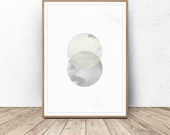 Geometric painting print, Nordic art, Circle Wall Art, Scandinavian decor, Watercolor Abstract, Modern Abstract Print, Gray Jade, Printable