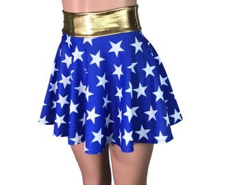 Wonder Woman Inspired High Waisted Skater Skirt - Clubwear, Rave Wear, Mini Circle Skirt - Jessie Graff